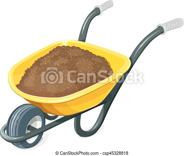 Wheelbarrow With Ground. Gardening Tools. Barrow One Wheel For  Transportation Cargo. Agriculture And Building Work Inventories. Isolated  White Background. ...