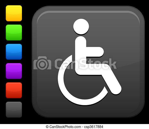 wheelchair icon on square internet button - csp3617884