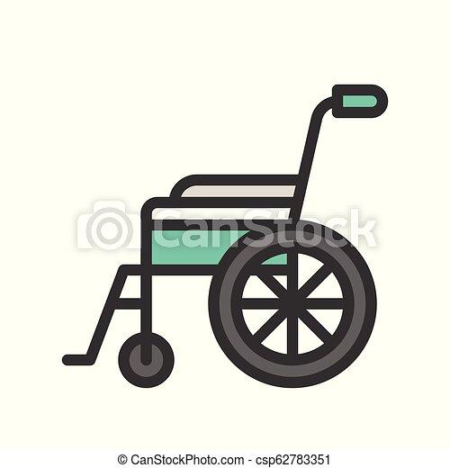 wheelchair, medical equipment icon set, vector illustration - csp62783351