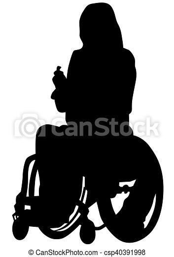 Wheelchair people on white backgrou - csp40391998