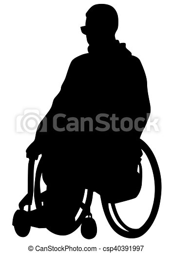Wheelchair people on white - csp40391997