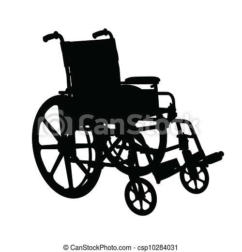 Wheelchair Silhouette Black On White Background