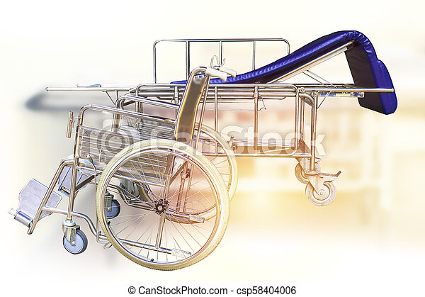 Wheelchairs and Hospital bed waiting for services. with sunlight copy space on area. - csp58404006