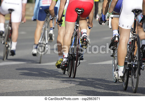 wheels during a cycling race - csp2863971