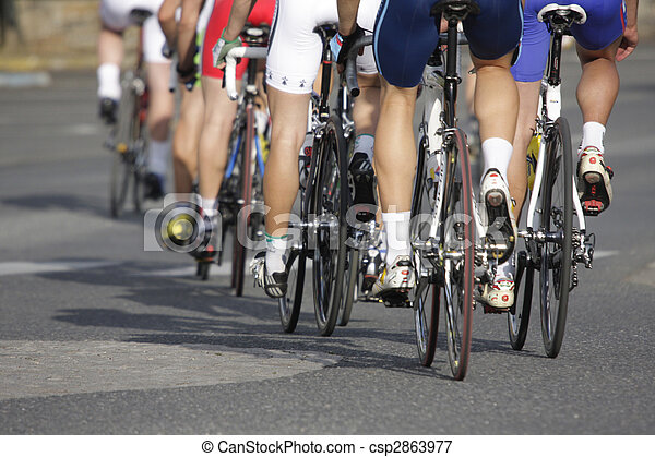 wheels during a cycling race - csp2863977
