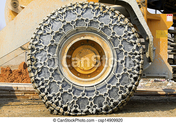 wheels with anti skid chain  - csp14909920