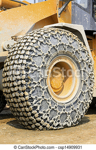 wheels with anti skid chain  - csp14909931