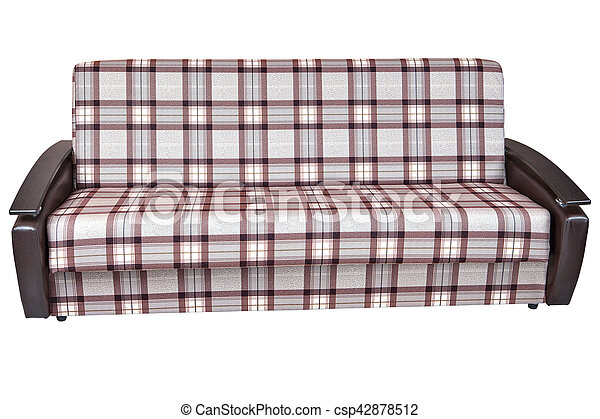 When folded sofa bed of checkered cloth isolated on white stock