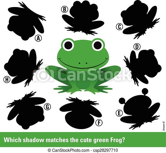 Which shadow matches the green cartoon frog - csp28297710