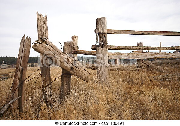 Whidbey island fence #1. Weathered, sun bleached fence posts ...