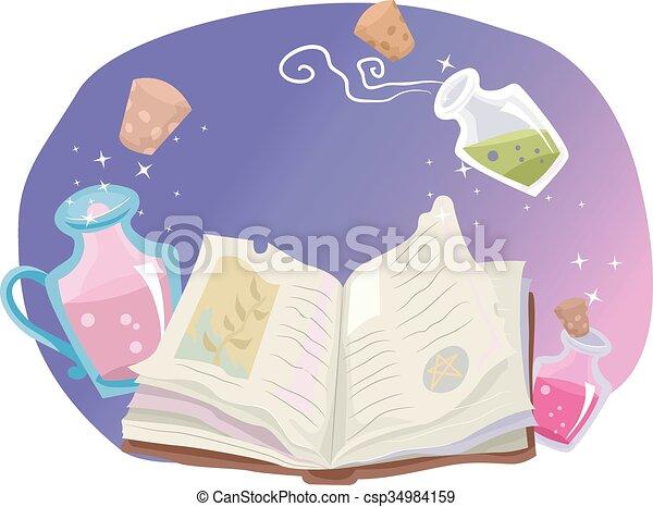 Whimsical Book Of Shaman - csp34984159