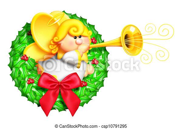 Whimsical Cartoon Angel Wreath - csp10791295