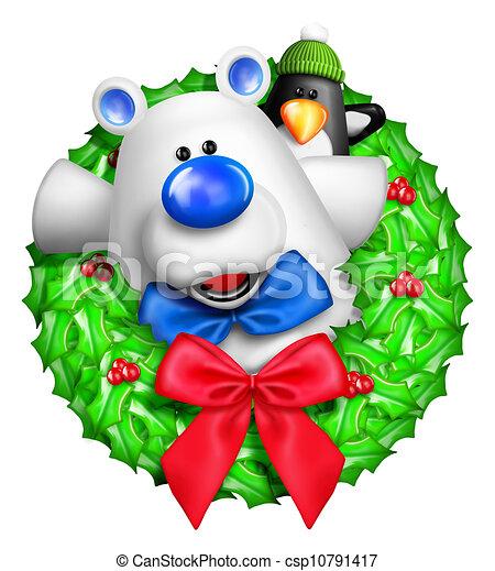 Whimsical Cartoon Bear Wreath - csp10791417