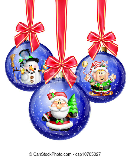 Whimsical Cartoon Christmas Balls - csp10705027