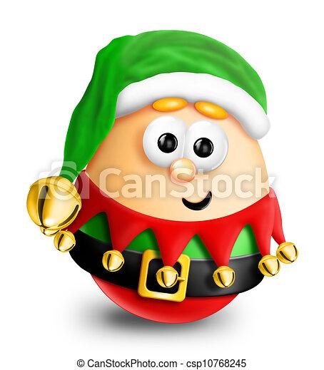 Whimsical Cartoon Christmas Egg Elf - csp10768245