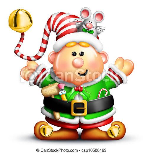 Whimsical Cartoon Christmas Elf - csp10588463