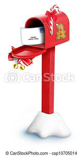 Whimsical Cartoon Christmas Mailbox - csp10705014