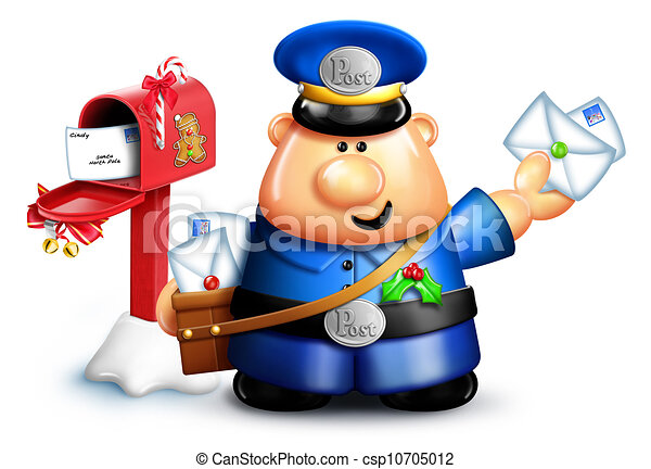 Whimsical Cartoon Christmas Mailman - csp10705012