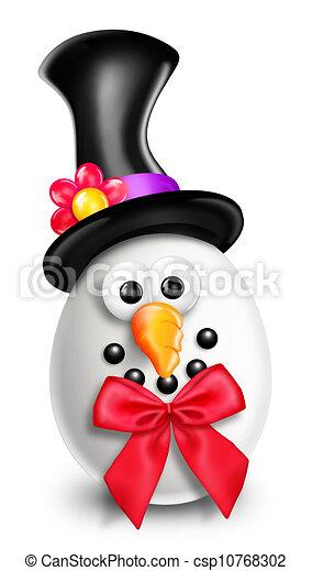 Whimsical Cartoon Christmas Snowman - csp10768302