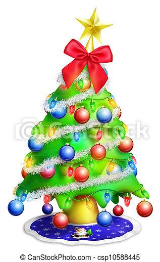 Whimsical Cartoon Christmas Tree - csp10588445