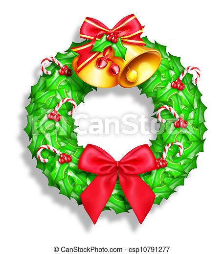 Whimsical Cartoon Christmas Wreath - csp10791277