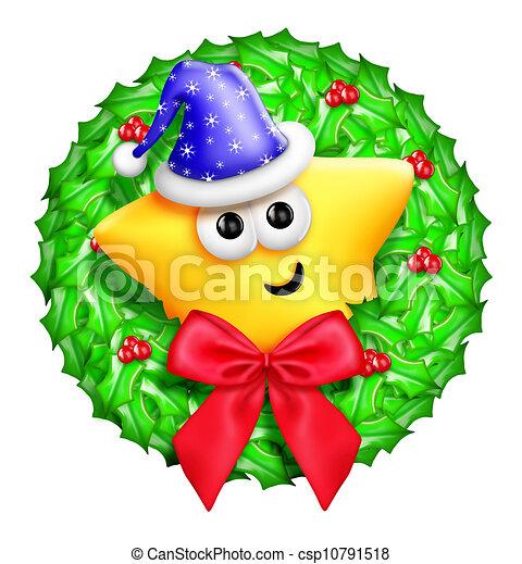 Whimsical Cartoon Cute Star Wreath - csp10791518