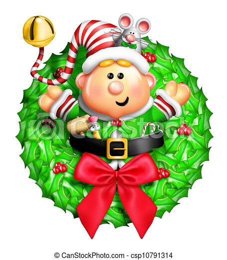 Whimsical Cartoon Elf Wreath - csp10791314