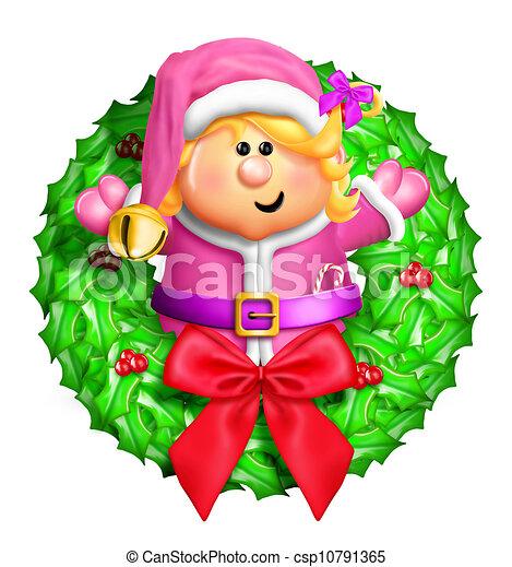 Whimsical Cartoon Elf Wreath - csp10791365