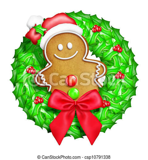 Whimsical Cartoon Gingerbread Man - csp10791338
