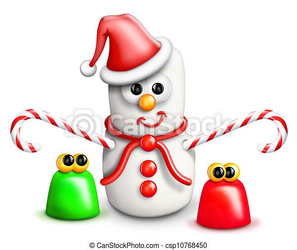 Whimsical Cartoon Marshmallow Snowm - csp10768450