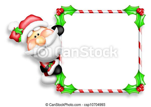 Whimsical Cartoon Santa Sign - csp10704993