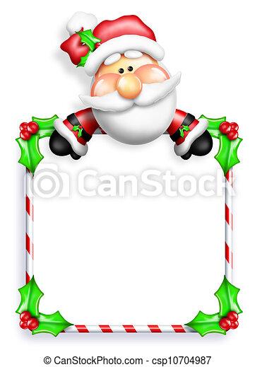 Whimsical Cartoon Santa Sign - csp10704987