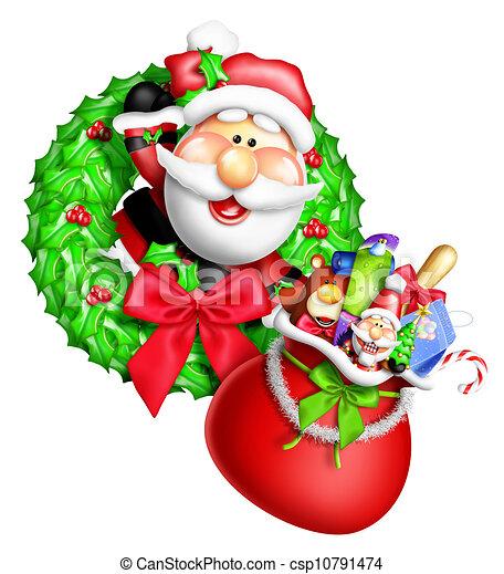 Whimsical Cartoon Santa Wreath - csp10791474