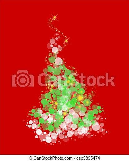 whimsical christmas tree on green csp3835474