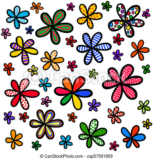 Whimsical Doodle Floral Background Design - csp57591859