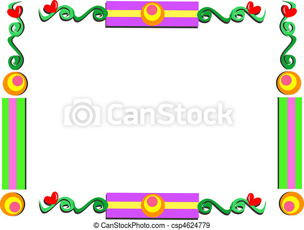 Whimsical frame with shapes and hea. Here is a cute frame with lots ...