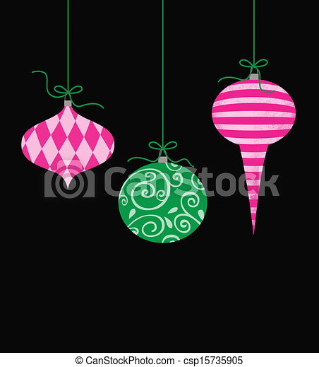 whimsical hanging christmas ornaments csp15735905