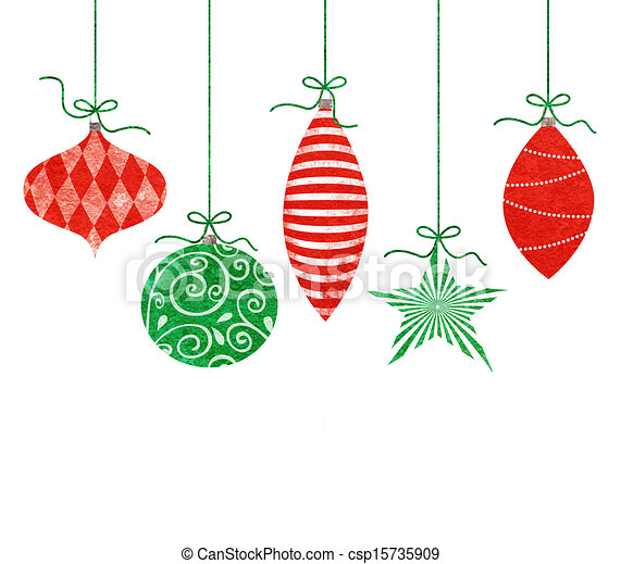 Stock Illustration - Whimsical Hanging Christmas Ornaments