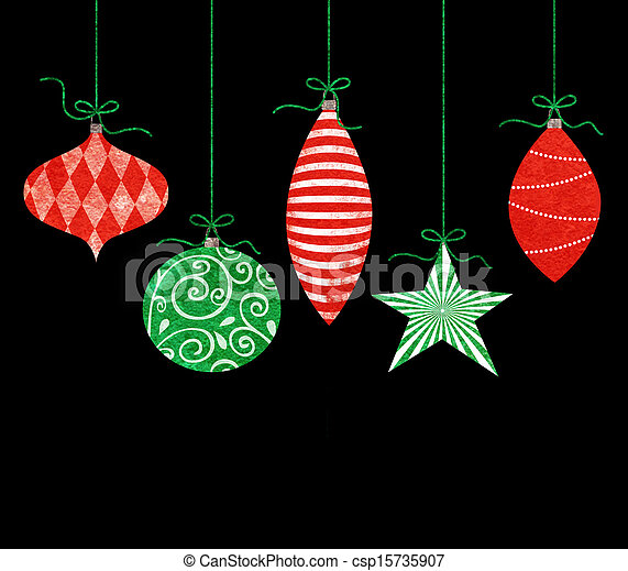 whimsical hanging christmas ornaments csp15735907