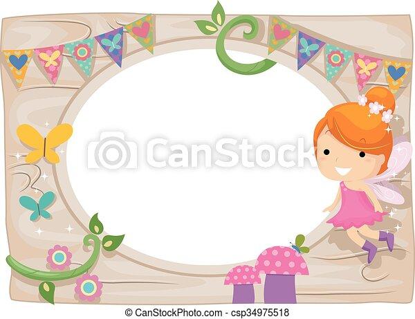 Whimsical Kid Girl Fairy Wood Board Frame - csp34975518
