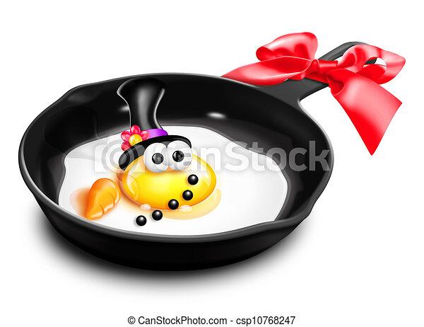 Whimsical Melted Cartoon Egg Snowma - csp10768247