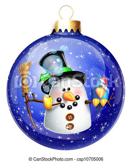 Whimsical Snowman Christmas Ball - csp10705006