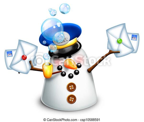 Whimsical Snowman Mailman - csp10588591
