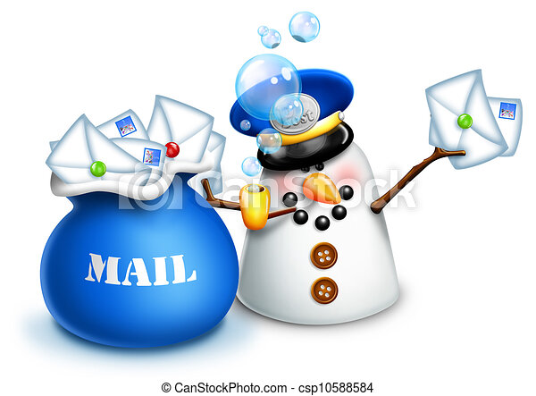 Whimsical Snowman Mailman - csp10588584