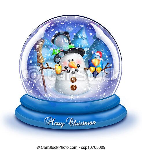 Whimsical Snowman Snow Globe - csp10705009