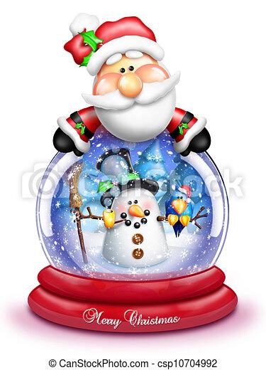 Whimsical Snowman Snow Globe - csp10704992