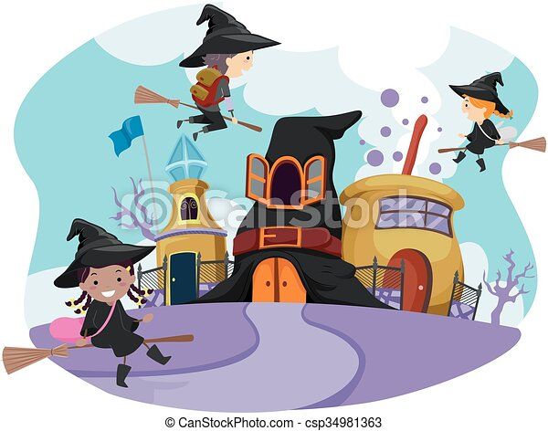 whimsical stickman kids wizard school whimsical illustration of