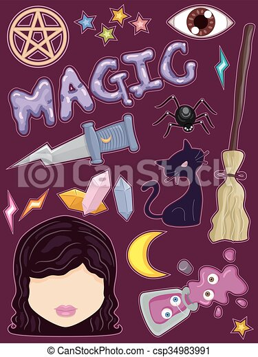Whimsical Witch Sticker Elements