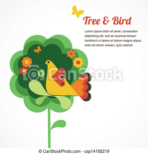 whimsy flower tree and bird - csp14192219