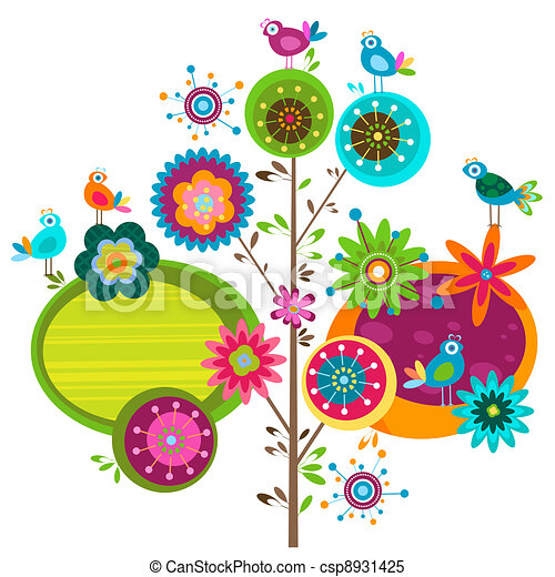 whimsy flowers whimsy flower tree and birds rh canstockphoto com flower pattern clipart